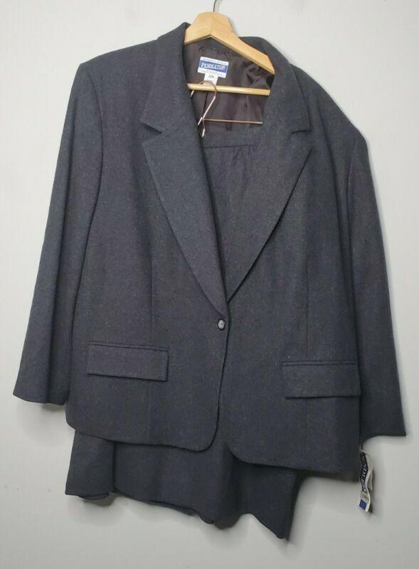 New Vintage Pendleton Wool Suit Pleated Skirt Blazer Gray Modest Business 22 W