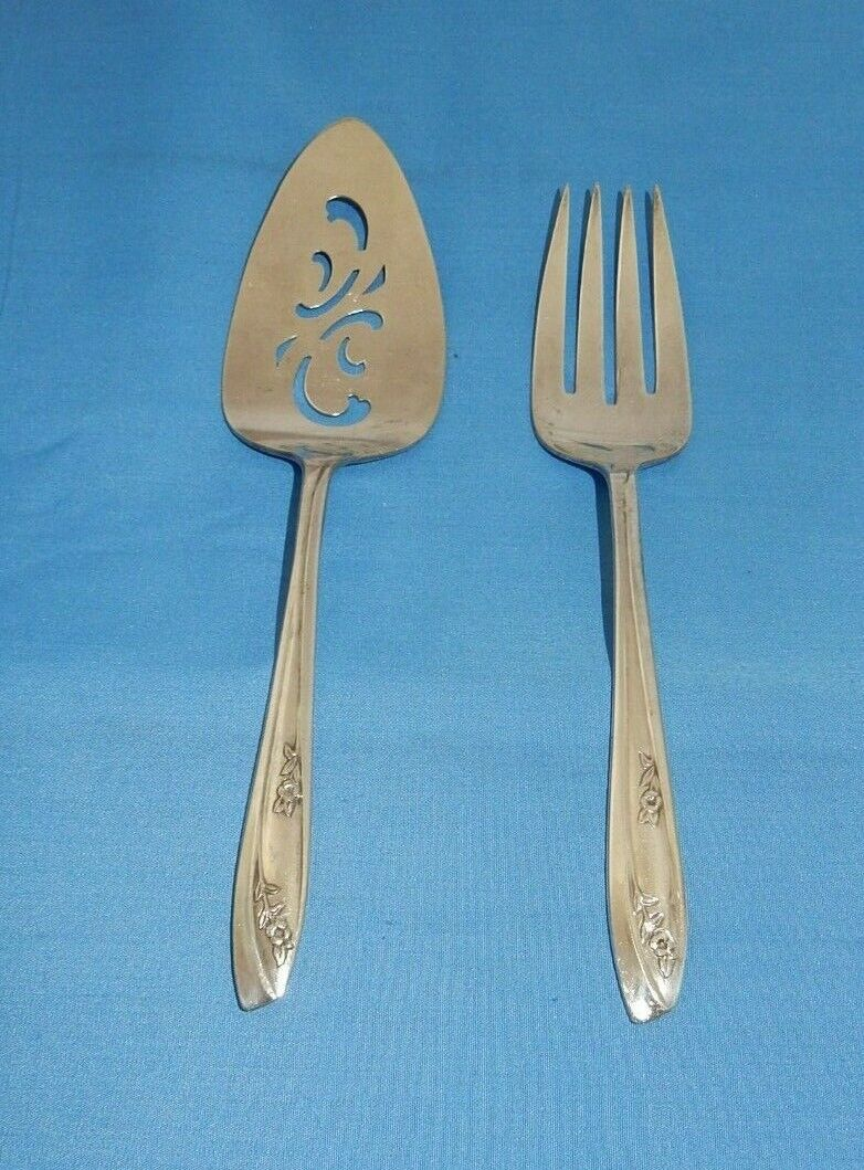 Rogers Is Silverplate Lady Fair 1957 Pie Cake Server Cold Meat Serving Fork - $5.49