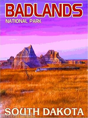 Badlands National Park South Dakota United States Travel Advertisement Poster  ()