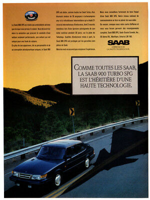 1989 SAAB 900 Turbo SPG Vintage Original Print AD Black car photo French Canada for sale  Quebec
