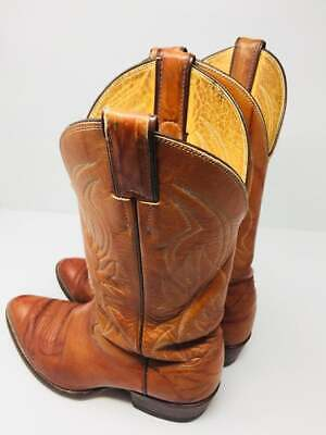 NICE Pair Of Mens Tan Leather Cowboy Boots MADE IN USA By 'Justin' - UK 6.5