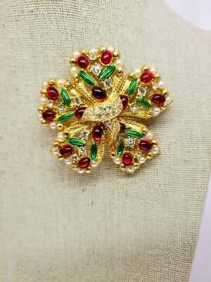Vintage Rhinestone Red Brooch Green Enamel Pin Women's Costume Jewelry