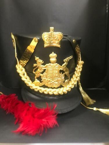 Black  Leather Hussar general Helmet with Gold Bullion