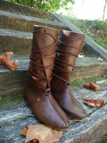 Medieval Roman Viking Knee Length Leather Boots Pirate Renaissance Shoes