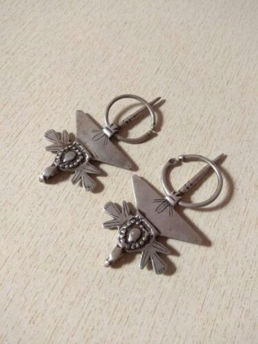 """Antique Small Pair of Silver Berber Fibulae """"TIZERZAI"""" from Morocco"""