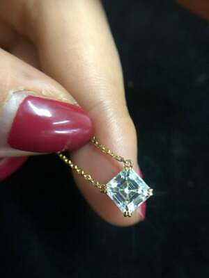3Ct Asscher Cut Diamond Solitaire Pendant 14K Yellow Gold Finish Free Chain