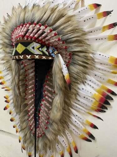 Headdress Native Warbonnet Handmade  White Large Feather Goose Headband Indian