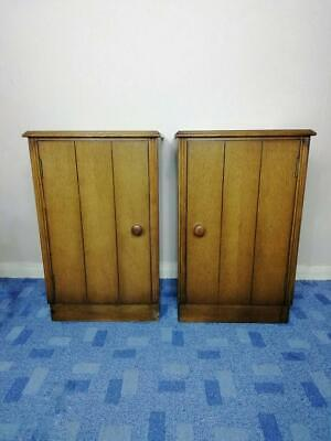 Pair of 1940's Art Deco Golden Oak bedside cupboards by Austinsuite