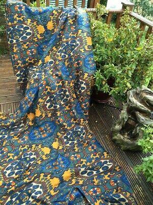 Vintage Linen Curtains Aztec Design, Warners Medium Length Heavy Fabric Blue