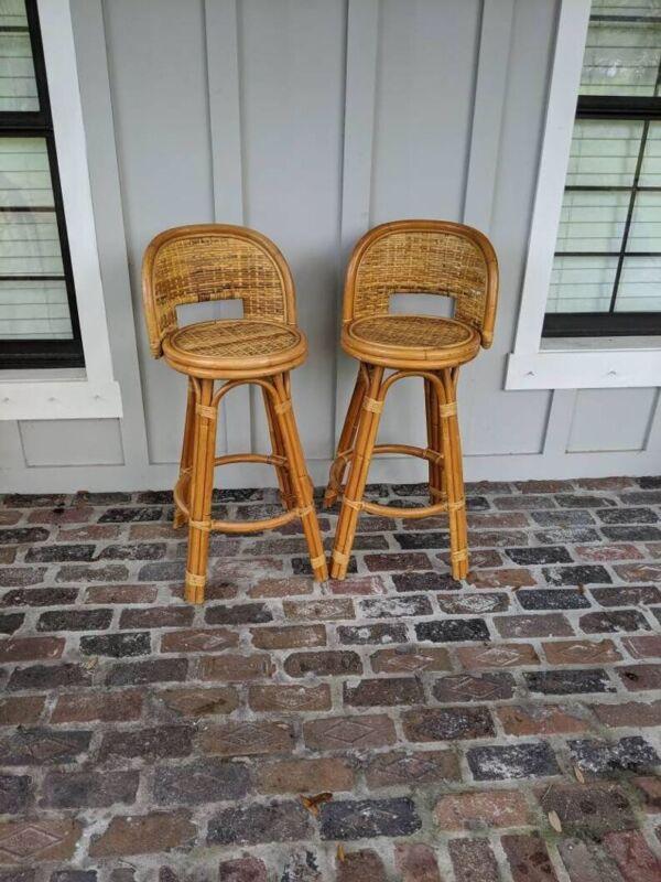 vintage rattan bar stools