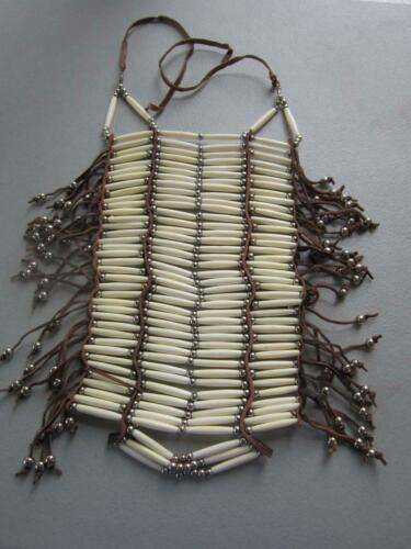 40 Row White Buffalo Bone Breastplate  Geronimo Regalia Pow Wow Indian