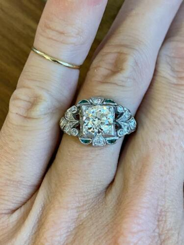 Victorian Edwardian Engagement & Wedding Ring 14K White Gold Over 2.3 Ct Diamond