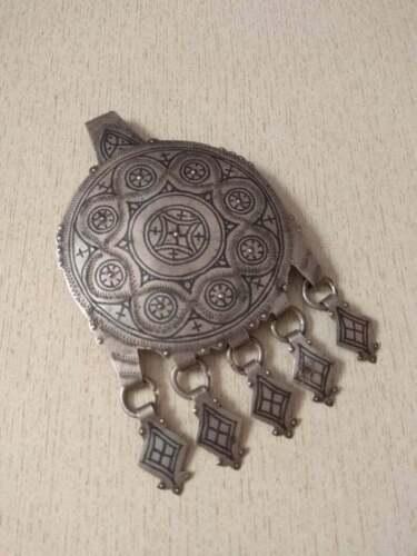 Antique Silver Berber Niello Pendant from Morocco