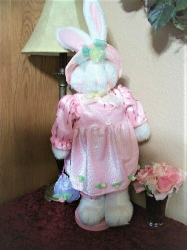 "Bunny Rabbit Stuffed Plush Animal Pink Dress and Hat 26"" Easter Bunny Home Decor"