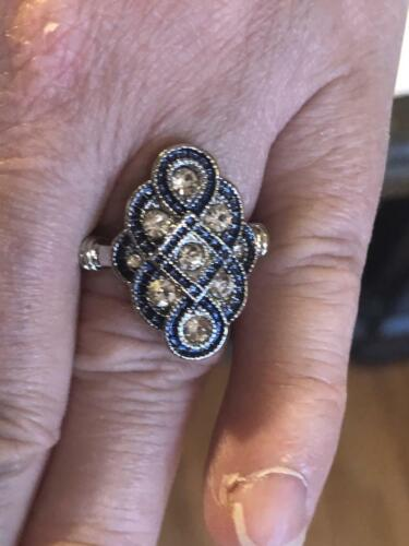 Pretty 1920s Mid-Century Style Old Mine Cut CZ & Blue Sapphire 925 Silver Ring