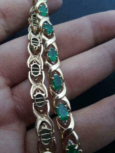 12 Ct Diamond Colombian Emerald Link Tennis Estate Bracelet 14k Yellow Gold Over