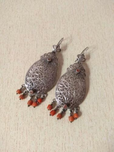 Moroccan Silver Berber Earrings from Morocco with Hallmark and with Old Coral be