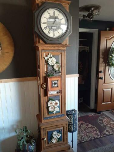 Grandfather Clock, Vintage, Designer, Restored, Flowers Farmhouse Pre Orders