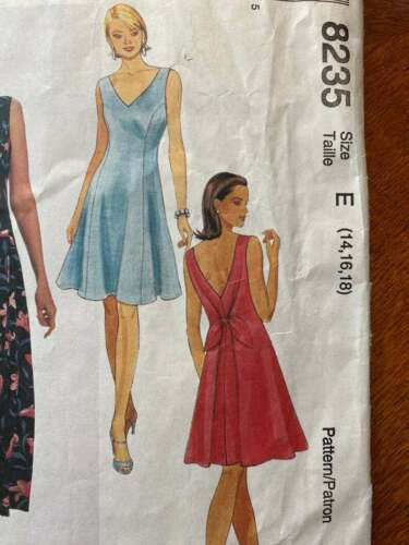 Easy McCalls Open Back Dress #8235 Sewing pattern - Sizes 14 to 18