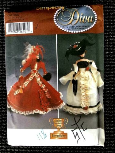 """Reduced!!  Simplicity 5702 11½"""" Fashion Doll Diva Doll Collection II Pattern"""