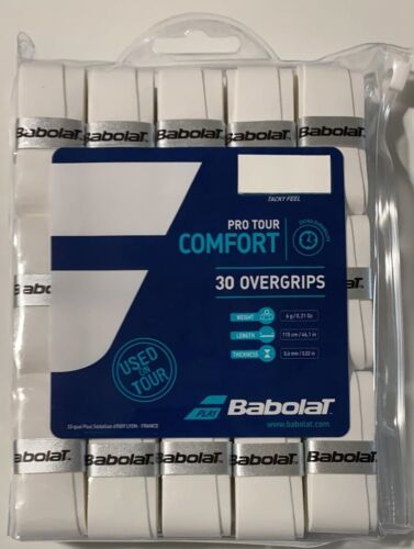 Babolat Pro Tour White Tennis Racquet Overgrips 30 Pack
