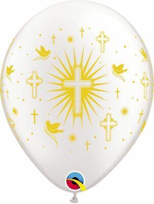 Perlweiß/Gold Kreuz / Tauben Taufe Kommunion Taufe, Helium / Luft Luftballons ()