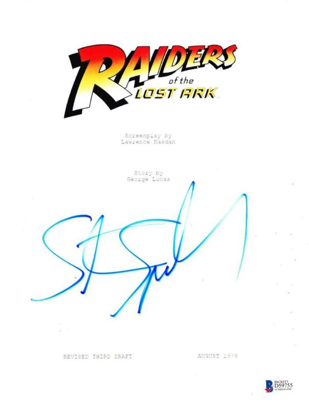 STEVEN SPIELBERG SIGNED INDIANA JONES RAIDERS OF THE LOST ARK SCRIPT AUTO BAS