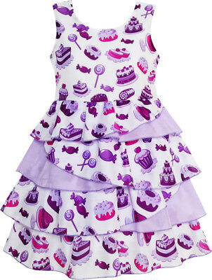 Girls Dress Cake Candy Birthday Gift Layered Tulle Purple Size -