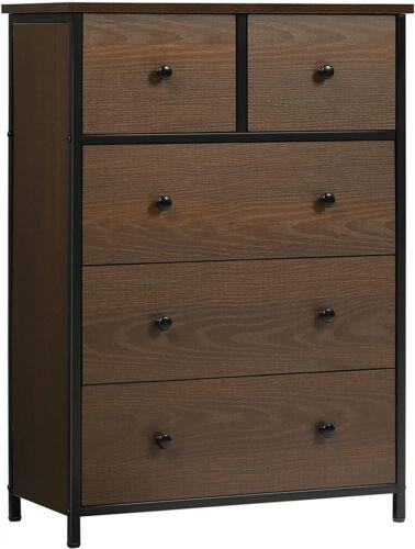 Fabric Dresser Chest 5 Drawers Furniture Bedroom Storage Organizer Wood Frame