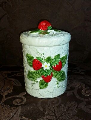 Sears, Roebuck and Co. 1981 Strawberry Canister Jar Ceramic Kitchen Container