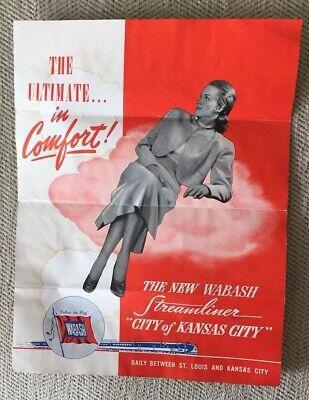 "Wabash Undated Brochure/Timetable:New Streamliner ""City of Kansas City"""