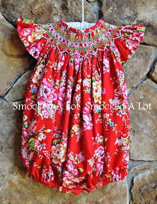 Smocked A Lot girls short bubble Red Rose Floral Valentine's Day pink dress](Girls Valentine Dresses)