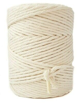Single twist 4 mm Cotton string 590 feet natural macrame rope for crafts - Single Twist