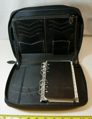Unique Day-timer Portable Black Leather Binder Zip Fits Filofax Personal Pages