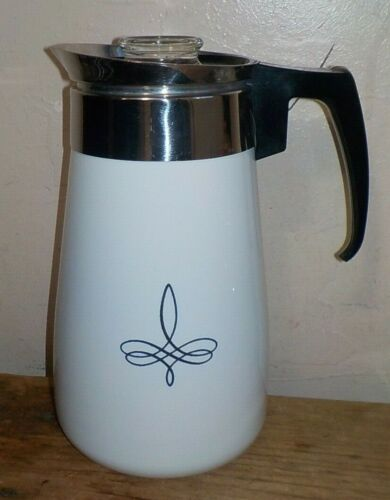 Vintage Corning Ware 9 cup stovetop percolator coffee pot TREFOIL PATTERN