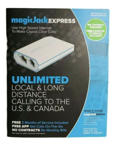 Magic Jack EXPRESS Digital Phone VoIP Service 3 Months of Service New In Box