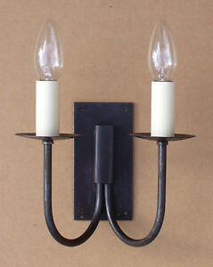 Rustic Cottage Double Wall Light Hand Forged Wrought Iron Oil Black c/w fittings