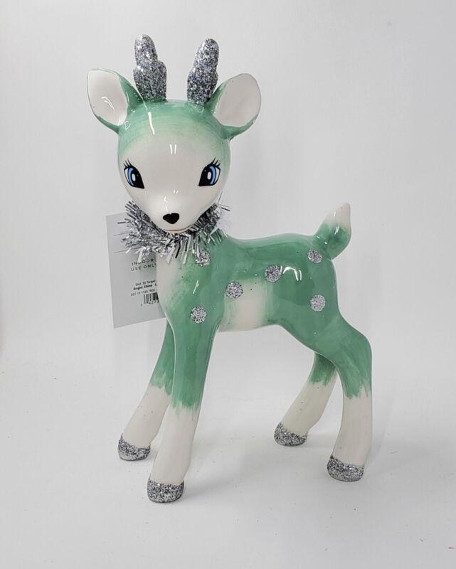 New Wondershop Mint Green Blue Retro Vintage Style Reindeer Deer Tinsel Glitter