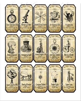 Halloween Magic apothecary steampunk stickers set of 15 scrapbooking crafts
