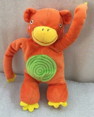 "Orange Monkey squeaker plush Baby or pet Toy 9.5"" ...sewn eyes"