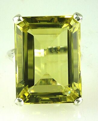 Very Large Emerald Cut Lemon Citrine  Solitaire Ring 925 Sterling Silver 20X15MM