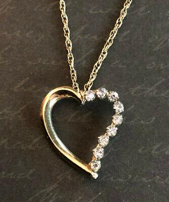 60s -70s Jewelry – Necklaces, Earrings, Rings, Bracelets VTG Gold Filled Necklace Rhinestone Heart Signed Krementz 18