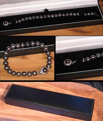 New ebony black real freshwater pearl bracelet with designer clasp in gift box Black Ebony Gift Box