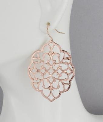 rose gold earrings dangle cut out filigree scroll oval big teardrop 2