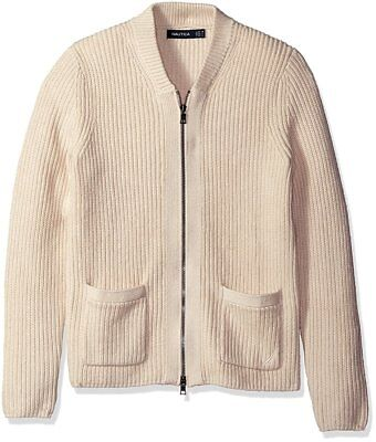 New Nautica Mens Chawl Collar Full Zip Bone White Rib Knit Cardigan Sweater L