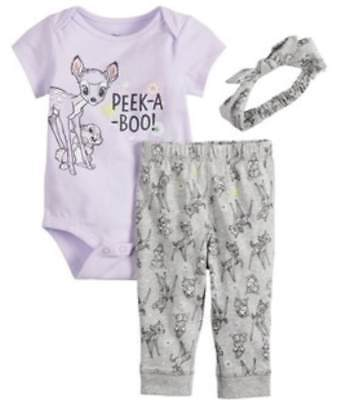 DISNEY BAMBI PURPLE 3 PIECE OUTFIT SIZE NB 3 6 9 12 18 MONTHS NEW! - Disney Outfit