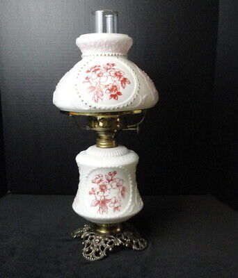 Antique 19th Century Pattterned Art Glass White Opal Decorated Chamber Oil Lamp