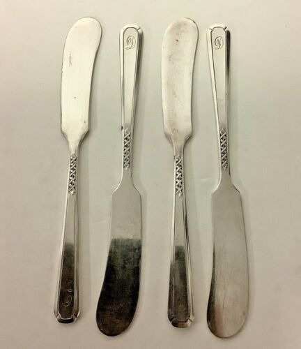 """LOT OF 4 Vintage Antique Genuine Silver Butter Knives D Initial 5 1/2"""""""