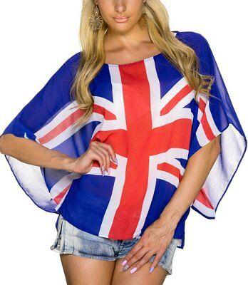 Sexy Miss Mujer Camiseta Top Grande Transparente Bandera 34/36/38 Azul Blanco