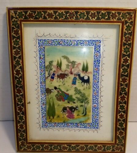 Vintage Hand Painted Persian on Bone in Wooden Khatam Inlay Frame